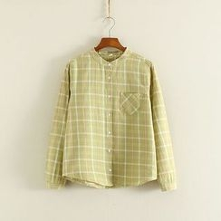 Mushi - Plaid Band Collar Shirt