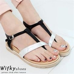 Wifky - Contrast Strap Thong Sandals