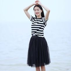 Rainbeam - Set: Short-Sleeve Knit Striped Top + Tulle A-Line Skirt