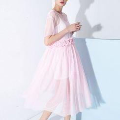 Ultra Modern - Set: Short Sleeve Midi Mesh Dress + Slipdress