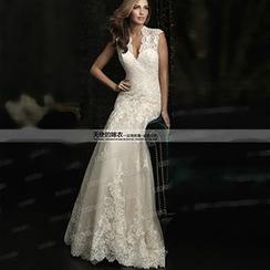 Angel Bridal - Lace Sheath Wedding Dress