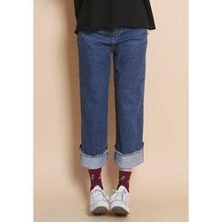 GOROKE - Fray-Hem Wide-Leg Jeans