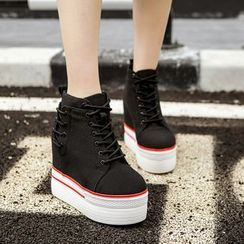 安若 - 繫帶內增高厚底輕便鞋