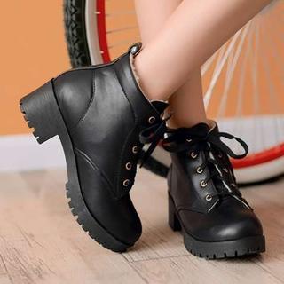 Pangmama - Chunky-Heel Lace-Up Short Boots