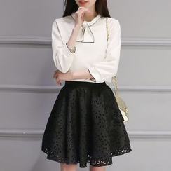Enjoi - Set: Long-Sleeve Chiffon Blouse + Perforated A-Line Skirt