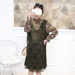 Aphrodite - 孕婦套裝:蕾絲連衣裙 + 雪紡連衣裙