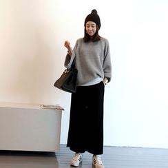 NANING9 - Raglan-Sleeve Rib-Knit Sweater