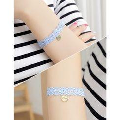 soo n soo - Disc Charm Lace Bracelet