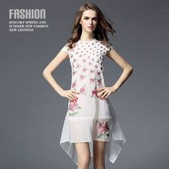 Ozipan - Short-Sleeve Embroidered Asymmetric-Hem Dress