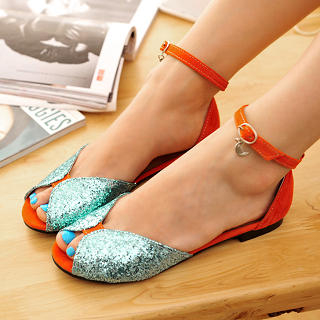 Peep-Toe Sequined Ankle-Strap Sandals
