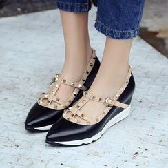 Romantina - Studded Panel Genuine Leather Wedge Pumps