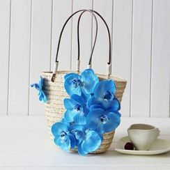 Sunset Hours - Floral Straw Shopper Bag