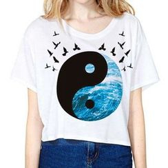 Omifa - Short-Sleeve Printed Cropped T-Shirt