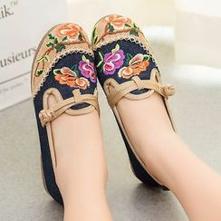 Diosa - Flower Embroidered Flats