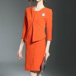 Bantynan - Set: 3/4 Sleeve Plain Blazer + Plain Midi Tank Dress