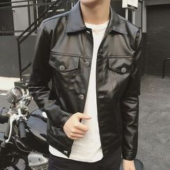 Bay Go Mall - Faux Leather Buttoned Jacket