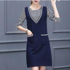 Eighoo - Set: Stripe Long Sleeve T-Shirt + Pinafore Dress