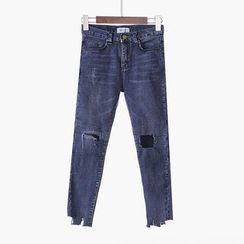 City of Dawn - Washed Distressed Slim-Fit Cropped Jeans