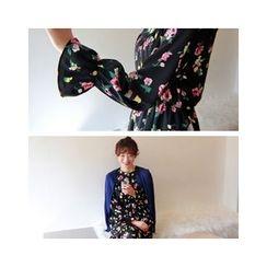 LEELIN - Gathered-Waist Flower Pattern Midi Dress