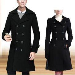 百高 - 情侶款雙襟長款大衣