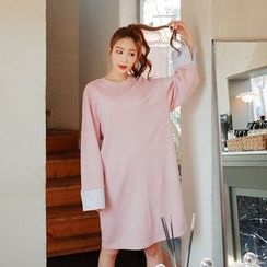 Cherryville - Striped-Cuff T-Shirt Dress