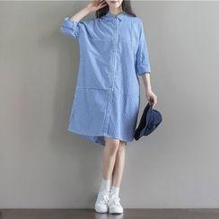 Clover Dream - Long-Sleeve Striped A-line Dress