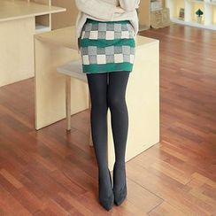 CLICK - Elastic-Waist Check Miniskirt