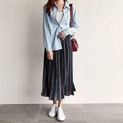 NIPONJJUYA - Pattern Accordion-Pleat Long Skirt