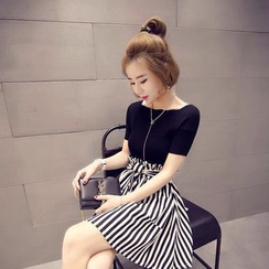 Lovebirds - Set: Knit Top + Striped Skirt
