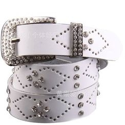 LONGMA - Rhinestone Pointelle Genuine Leather Belt