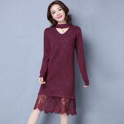 Romantica - Lace-Hem Open-Front Knit Dress