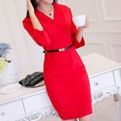 Q.C.T - V-neck Long-Sleeve Dress