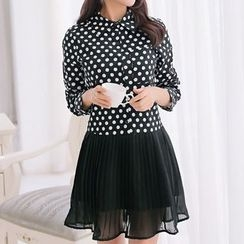 Q.C.T - Dotted Mesh Panel Long-Sleeve Dress