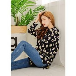 J-ANN - Dip-Back Pattern Loose-Fit Blouse