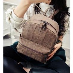 Youshine - Faux Leather Plaid Backpack