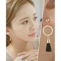Miss21 Korea - Hoop Tassel Dangle Earrings