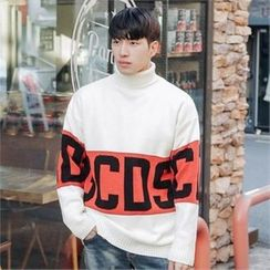 STYLEMAN - Turtle-Neck Lettering Sweater