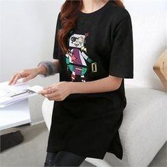 PIPPIN - Appliqué Robot T-Shirt Dress