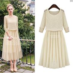 ANGELA - Set: Long-Sleeve Top + Sleeveless Pleated Midi Dress