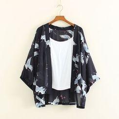 Mushi - Crane Print Open Front 3/4 Sleeve Light Jacket