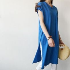 STYLEBYYAM - Slit-Side Long T-Shirt Dress