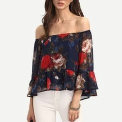 Rebecca - Off-shoulder Floral Print Chiffon Top