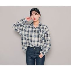 HOTPING - Pocket-Front Oversized Plaid Shirt
