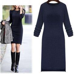 Rebecca - Plain Long-Sleeve Knit Dress