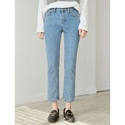 FROMBEGINNING - Washed Straight-Cut Jeans