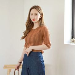Envy Look - Short-Sleeve Ribbed Knit Top
