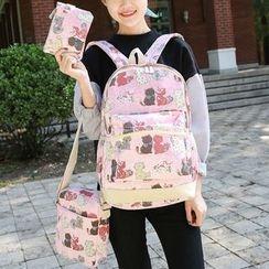 Sweet City - 套裝: 貓印花背包 + 斜挎包 + 收納包
