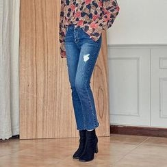 Seoul Fashion - Distressed Washed Straight-Cut Jeans