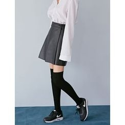 FROMBEGINNING - Faux-Leather A-Line Mini Skirt