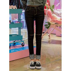 icecream12 - Cuff Slim-Fit Jeans